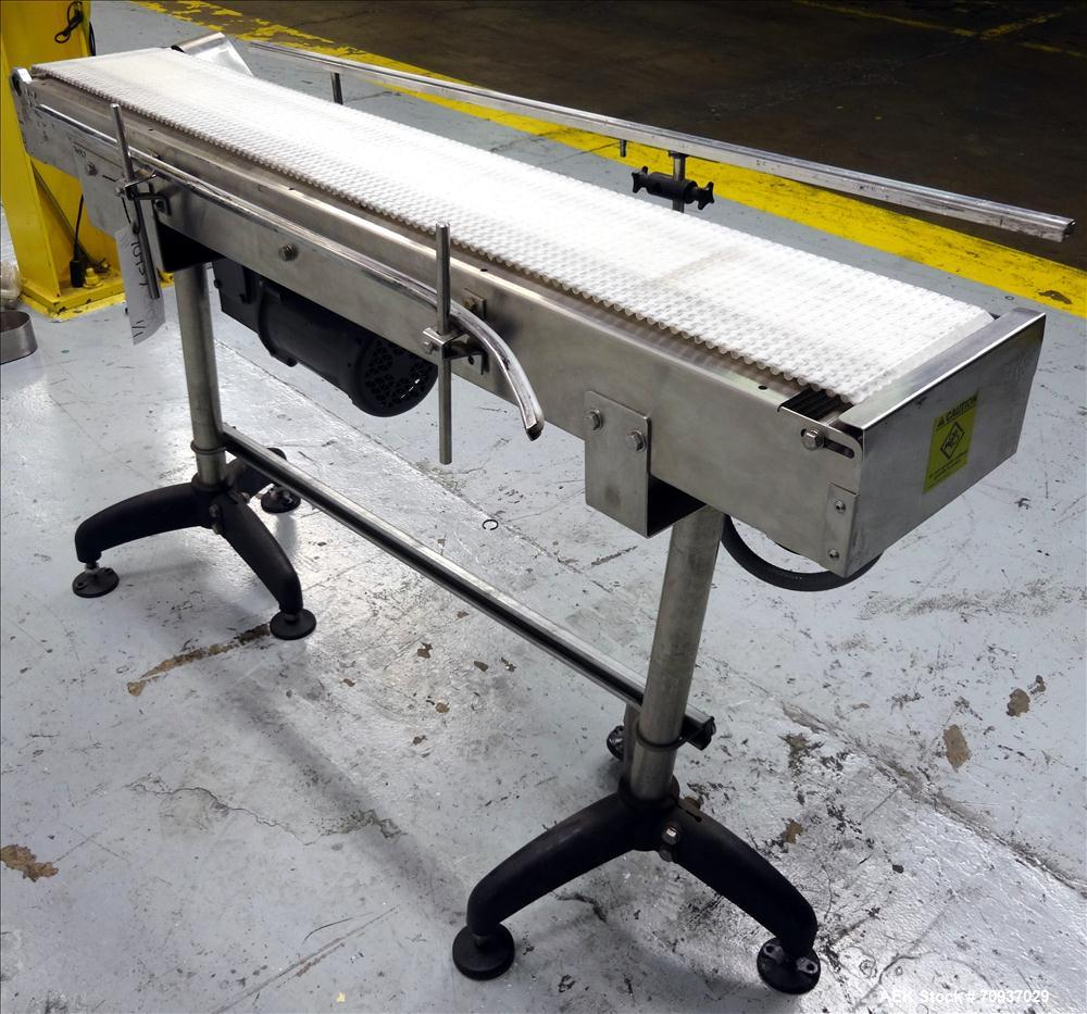 "Used- Packaging Dynamics Model PC-KVP5 Conveyor. Has 58"" long x 8"" wide Belt. Mounted on adjustable legs. Stainless steel co..."