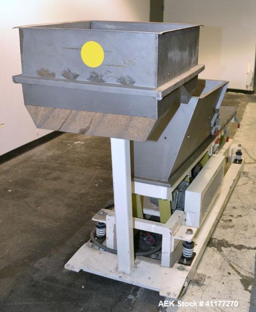 Used- Stainless Steel Deamco Vibrating Hopper Feeder, Model VHF-12X4X8-3