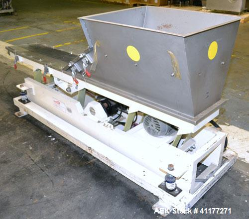 "Used- Deamco Vibrating Hopper Feeder, Model VHF-12X4X8-3, 304 Stainless Steel. 12"" wide x 102'' long trough. (2) Sections of..."