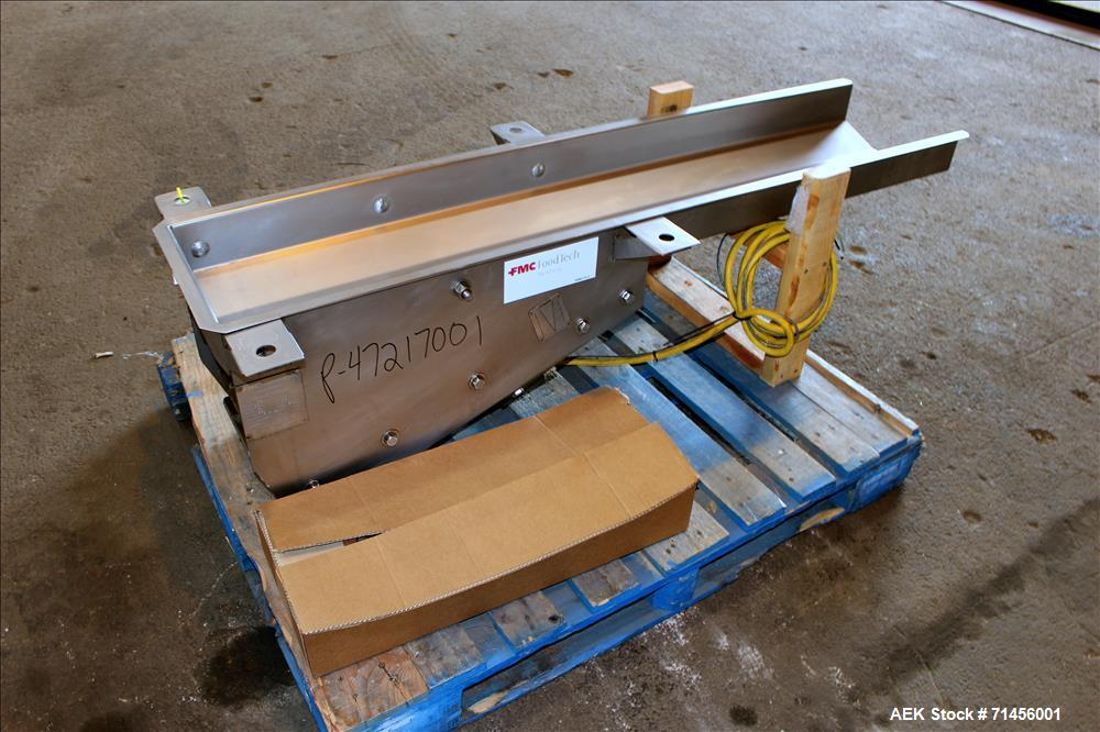 "Used- FMC Food Technology / Allen Systems. Vibaratory Scale Feeder, Model VF3, 230/60/1 ph. 304 Stainless steel. 60"" Long x ..."