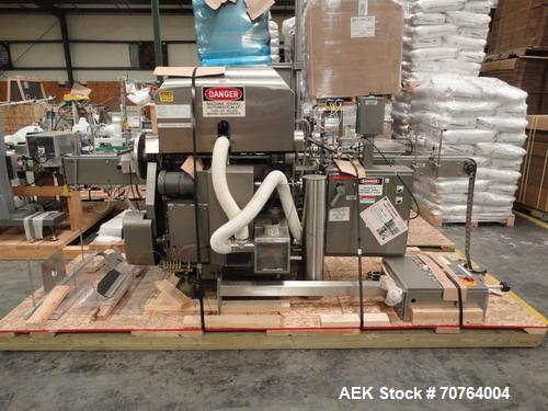 "Used- Lakso Model 71 Automatic Twin Head Cottoner capable of speeds up to 200 bottles per minute. Has 28"" x 3-1/4"" screw inf..."