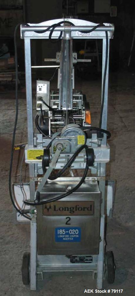 Used- Langford Coupon Feeder, Model C350-5FDM. Top to bottom feed, specifically designed to fit all packaging lines. Minimum...