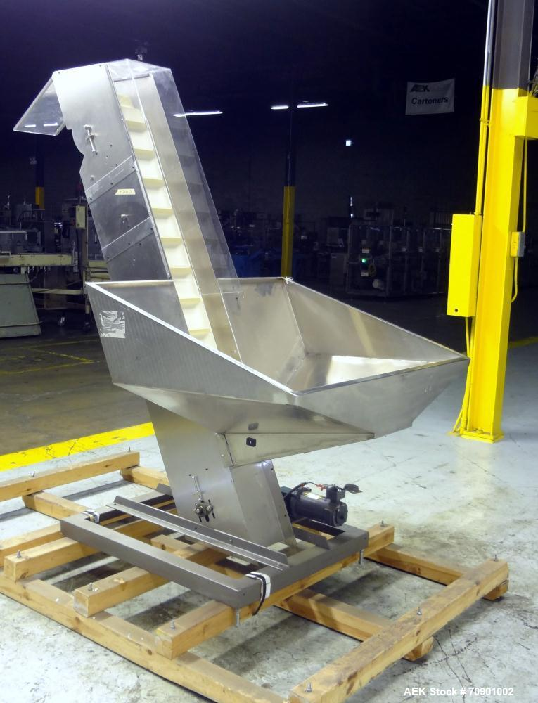 """Used- Incline Cleated Belt Conveyor, 304 Stainless Steel. 10-3/4"""" Wide X 75"""" long belt, with 2"""" tall cleats spaced approxima..."""