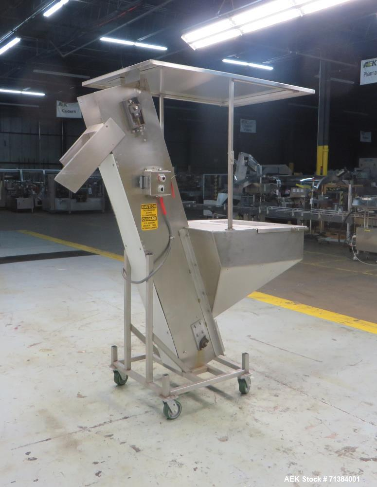 Used- Incline Belt Conveyor With Hopper
