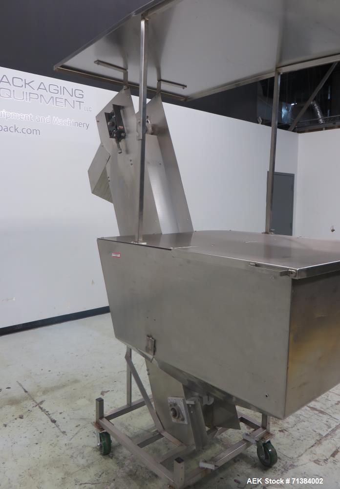 Used- Incline Belt Conveyor With Hopper