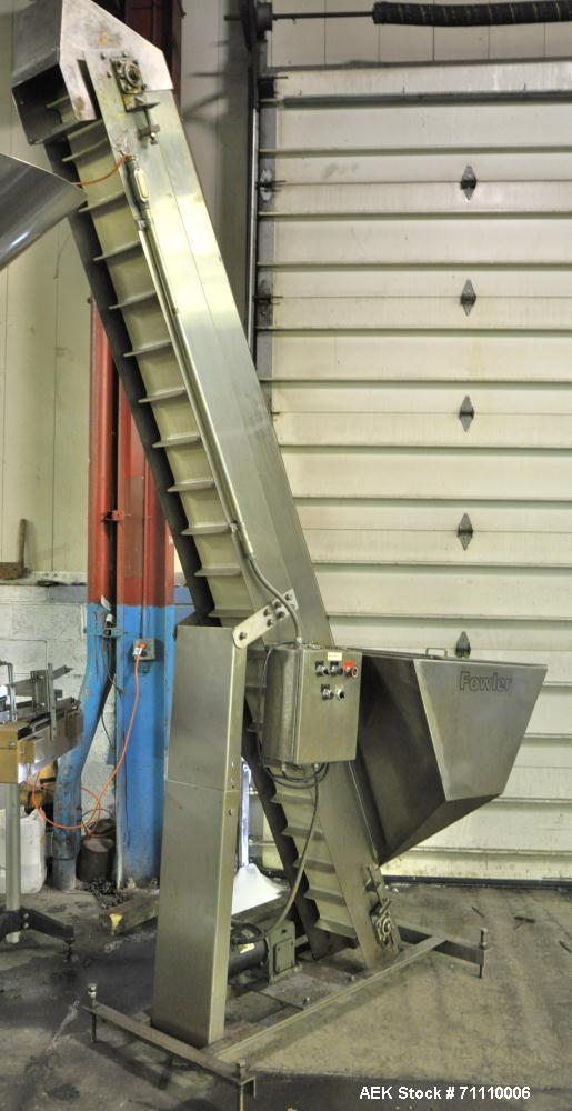 "Used- Fowler Inclinded Hopper Feeder Conveyor, Stainless Steel.  Hopper 40"" high x 40"" wide x 24"" deep."
