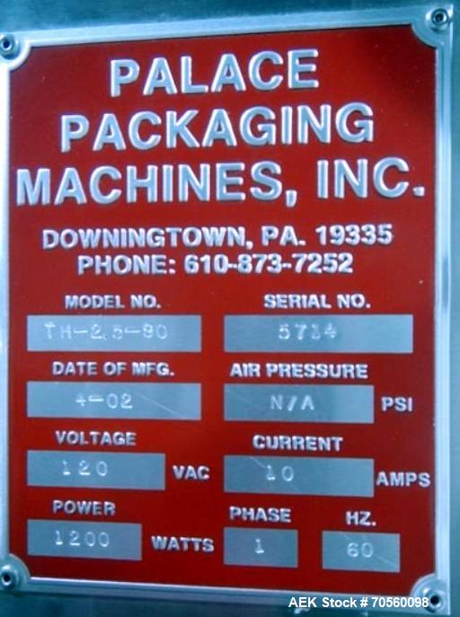 Used- Palace Packaging Machine TH-2.5-90 Inclined Feeder. 6' Feeding height, serial# 5714, built 2002.