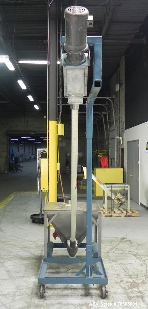 """Used- Flexicon Model Mobile Sanitary Flexible Screw Conveyor. Conveyor tubing is 3.5"""" diameter. Screw is driven by a 2 hp, 1..."""