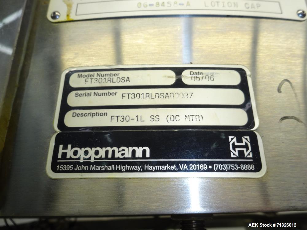 Used- Hoppmann Model FT301RLDSA Centrifugal Bowl Feeder. Is of stainless steel construction. Uses an Allen Bradley MicroLogi...