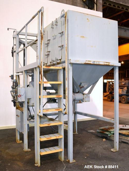 "Used- Dry Bulk Loading System, Carbon Steel. Consisting of: (1) Approximately 75 cubic foot hopper, 52"" wide x 75"" long x 40..."