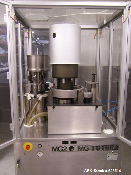 USED: MG2 Futura capsule machine, 2400 capsules per hour, tooling size is 0 and 00. With additional tooling, the capacity ca...