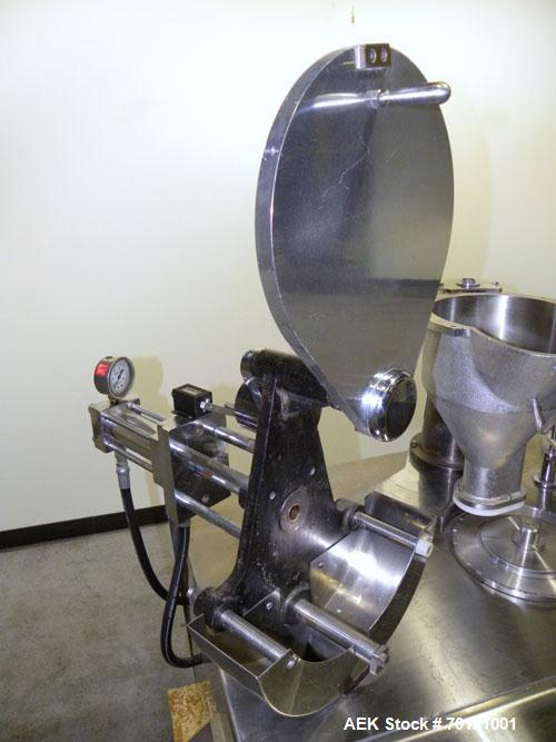 Used- Capsugel Semi Automatic Capsule Filler, Model KDF-2. 20,000 capsules per hour for sizes 00 through 5 with beadlets, gr...