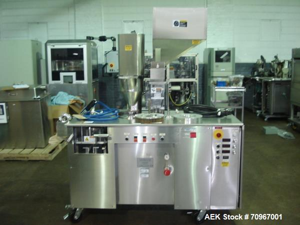 Used-One (1) used Capsulgel capsule filler, model Ultra 8 II, stainless steel construction, feed hopper with chute, powder f...