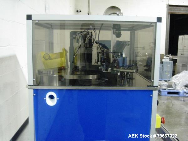 Used- LAB rotary tablet/capsule enrobing unit, 8 station, with heated enrobing system and Keyence CV-3000 vision system, 115...
