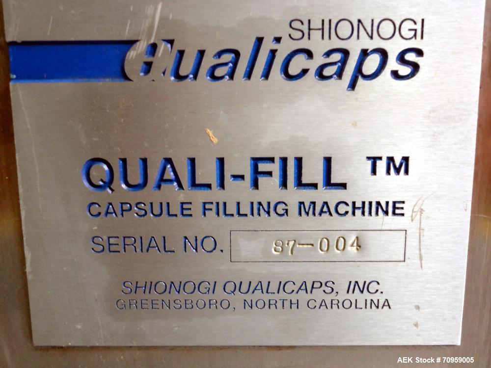 Used- Shionogi Qualicaps STI Type 10 Semi-Automatic Capsule Filler. Capable of speeds up to 25,000 capsules per hour. Machin...