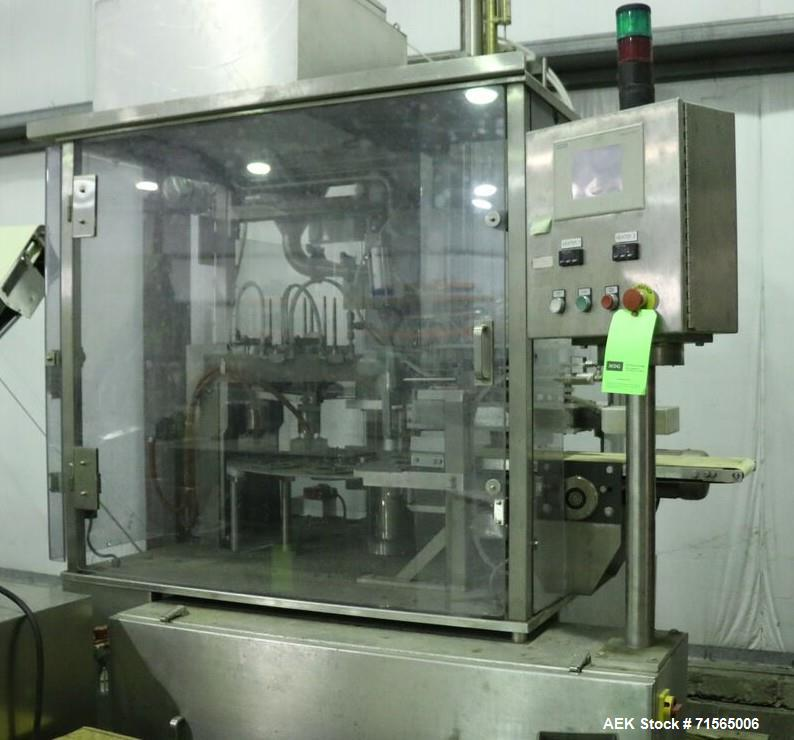 Used- AutoProd Model R0A7 Two-Head Rotary Cup Filler.