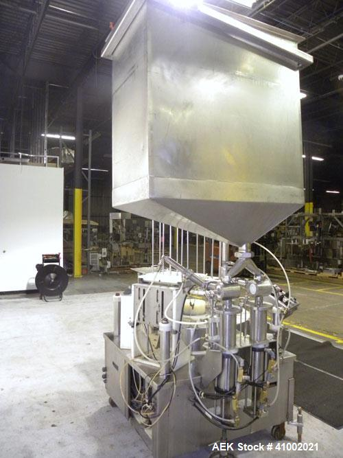 Used- Pryor Packaging Machinery 2 Head Rotary Cup Filler and Lidder, Model 51190