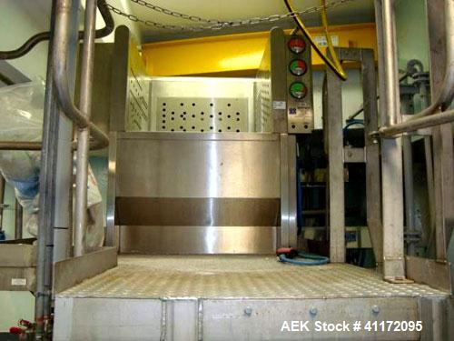 Used- Extract Technology Solids Charge Station. Unit includes bin tipping, fine dust filter, Hepa filter and glovebox. Inclu...