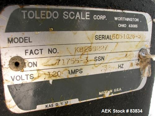"Used- Toledo Drum Filling System consisting of: (1) Toledo drum filler, approximately 2"" diameter stainless steel filling tu..."