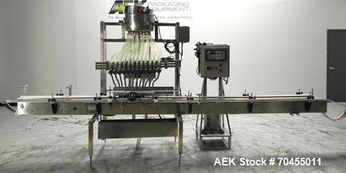 Used- ELF (E-PAK) Model 15 CONV 12 Head Inline Time Gravity Pressure Liquid Filler. Capable of speeds over 100 bottles per m...