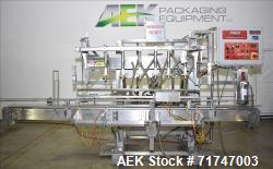 Used- Pack West Monarch Filler-12V-PS 6-Head Inline Gravity Overflow Filler