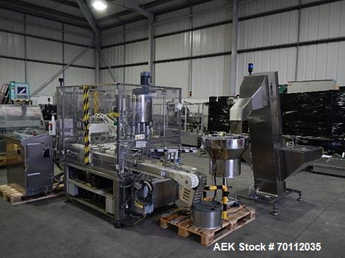 Used- CAM L60 Continuous Motion Liquid Filling and Capping Monoblock Machine. Maximum speed up to 200 bottles per min. Separ...