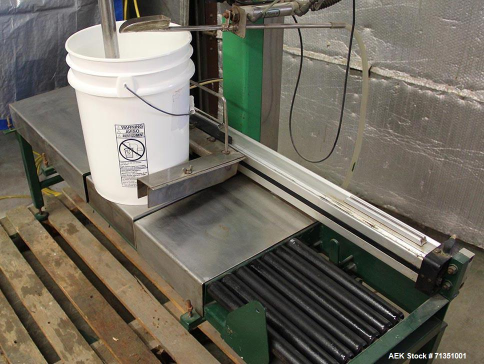 Used- Single Head 5 Gallon Pacific Semi-Automatic Net Weight Pail Filler. Pacific, semi-automatic, single head, 5 gallon. Ne...