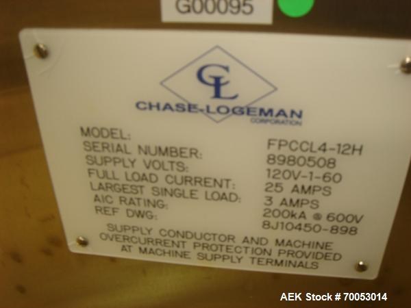 Used-Chase Logeman Monoblock Filling Line, Model FPCCL4-12H.  Designed to fill, plug, cap and label at speeds up to 60 conta...
