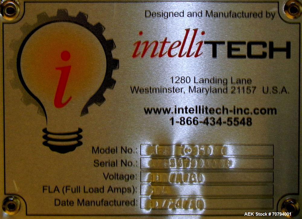 Used- Intellitech IntelliFiller Model AFS I-3500C Liquid Filler Stopper and Screw / Crimp Capper. Monoblock Machine is capab...