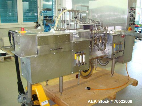 Used-Strunk (Bosch) Ampoule Filling and Flame Sealing Machine. Two (2) station - filler with rotary valve pumps for 1 - 5 ml...