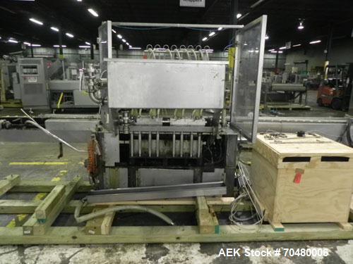 Used- Cozzoli Model LF840-8 Inline Continuous Motion Walking Beam Style Piston Filler