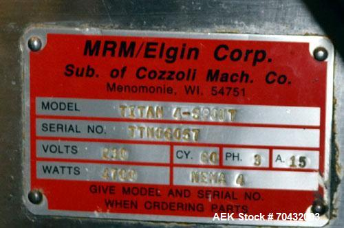 Used- MRM Elgin Model Titan 6-Head Automatic Inline Piston Filler