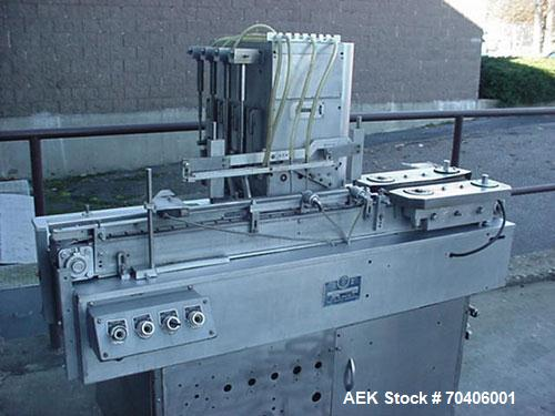 Used-Used: Perry 4-Head Automatic Liquid Filling Machine  Model LFSUA. Unit has four (4) stainless steel positive displaceme...