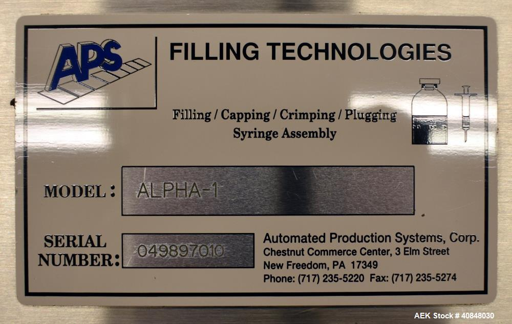 Used- APS Alpha-1 Positive Displacement Servo Driven Rolling Diaphram Type Fille