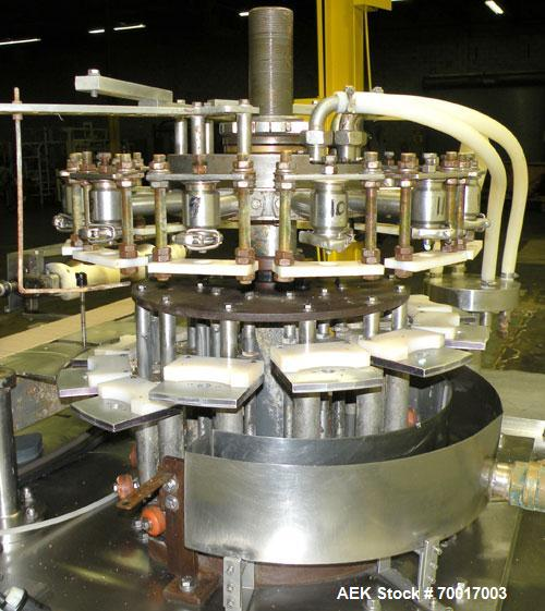 "Used- Biner Ellison Versamatic 12 Head Rotary Liquid Positive Displacement Filler, Model V 26-12. (12) 1/2"" diameter nozzles..."