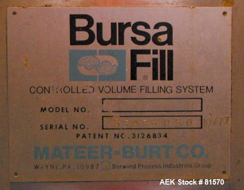 USED: Mateer Burt bursa filler, 316 stainless steel. The CVF commissary type filler is particularly well suited for moderate...