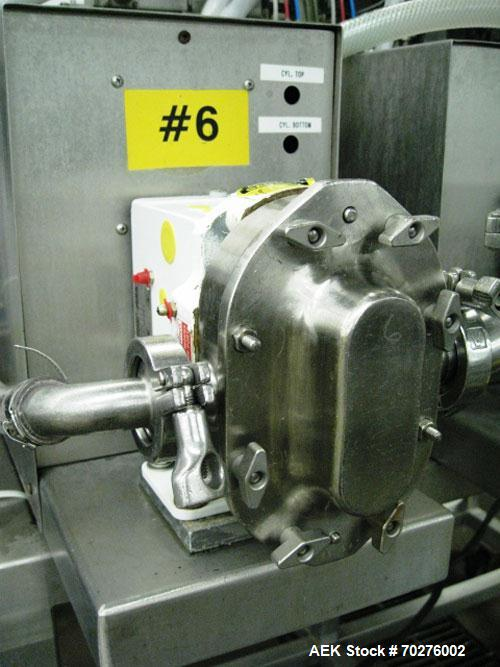 Used- Oden Profil 1000 6-Head Inline Volumetric Filler. This unit features six (6) Waukesha Model 15 universal pumps and is ...