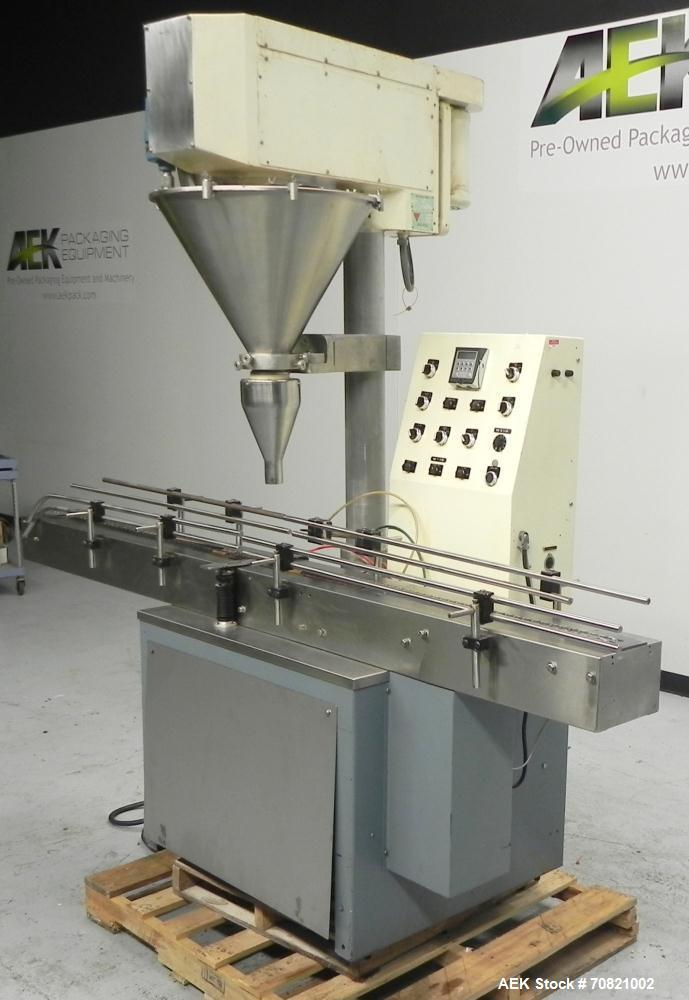Used- All-Fill Model SHA Automatic Inline Auger Filler. Capable of speeds up to 50 containers per minute (depending on size)...