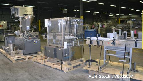 "Used- All-Fill Dual Head Automatic Container / Tub Filling Line. Line consists of: 48"" diameter unscrambling feed disc, All ..."