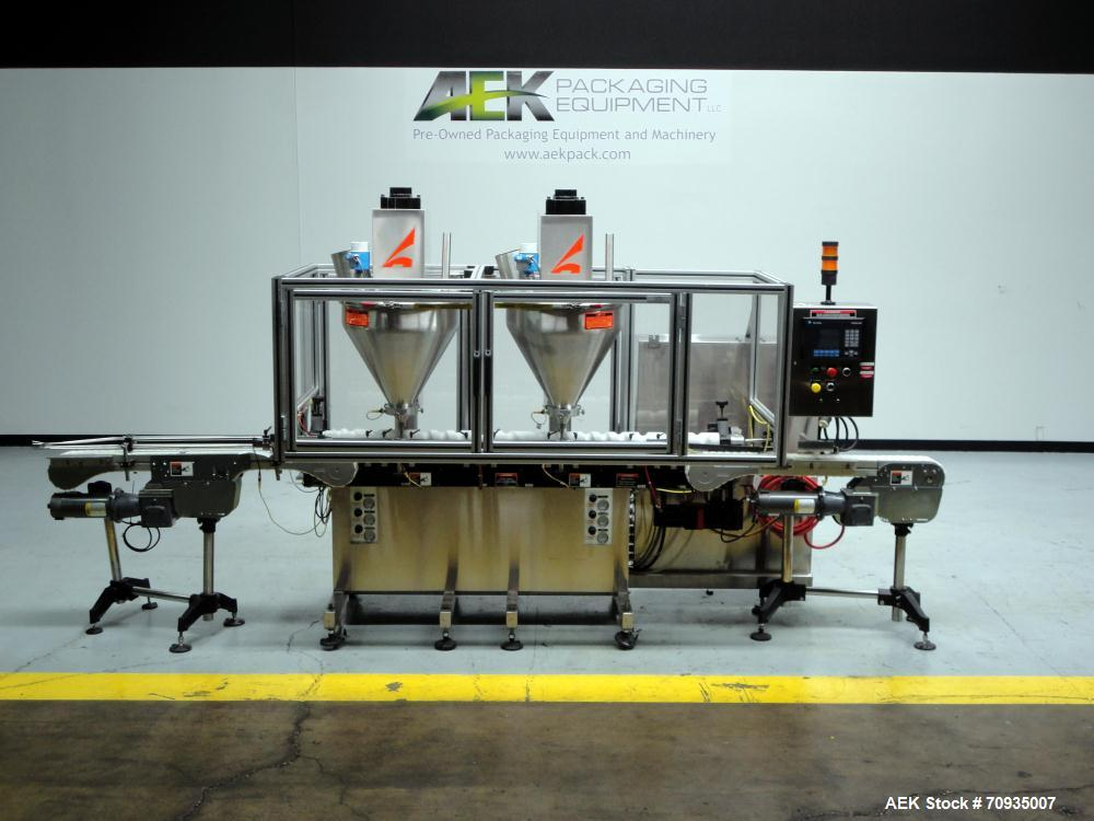 Used- All Fill Model DHAA-S-V-600 automatic dual head inline auger filler. Servo driven fill heads with auxiliary agitation,...