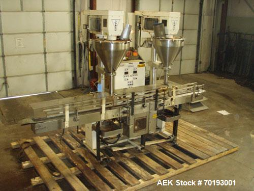 Used-AMS Model A-500E Dual Head Auger Filler. Machine has 2 A-100 with agitated hoppers, can handle free flowing and non-fre...