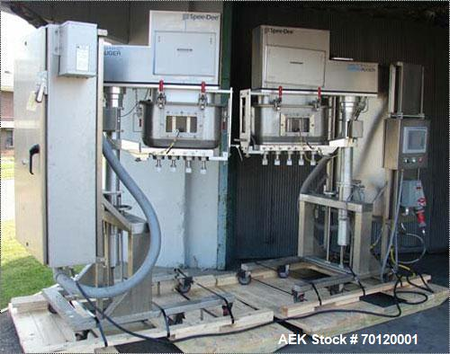 Used-SpeeDee 9 Head Inline Bakery Depository System. Consists of two head model 12001 AB Penta Servo controlled auger filler...