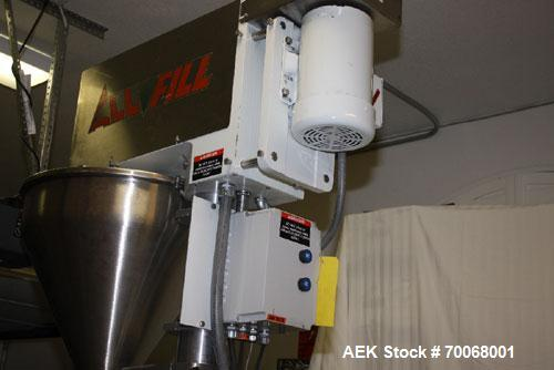 Used- All-Fill B-350 Auger Filler. Semi-automatic, complete with agitated hopper. Has foot pedal for indexing, stainless ste...