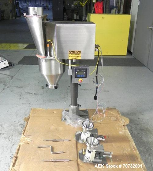 Used- Per-Fil Model Nano-Filler Semi-Automatic Auger Filler. Machine is rated at rates of 10-100 doses per minute. Capable o...