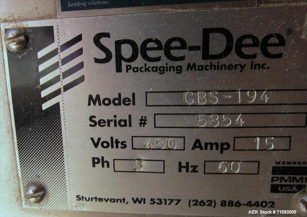 """Used-Spee-Dee Model CBS-194 Volumetric Cup Filler. 4-pocket rotary head. 2"""" (diameter) cups. Stainless steel construction. A..."""