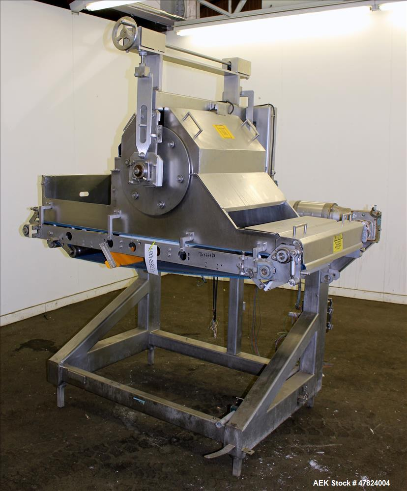 "Used- Waterfall Cheese/Applicator for Pizza, 304 Stainless Steel. Has 28"" wide x 60"" long belt conveyor driven by a 1/2hp, 3..."