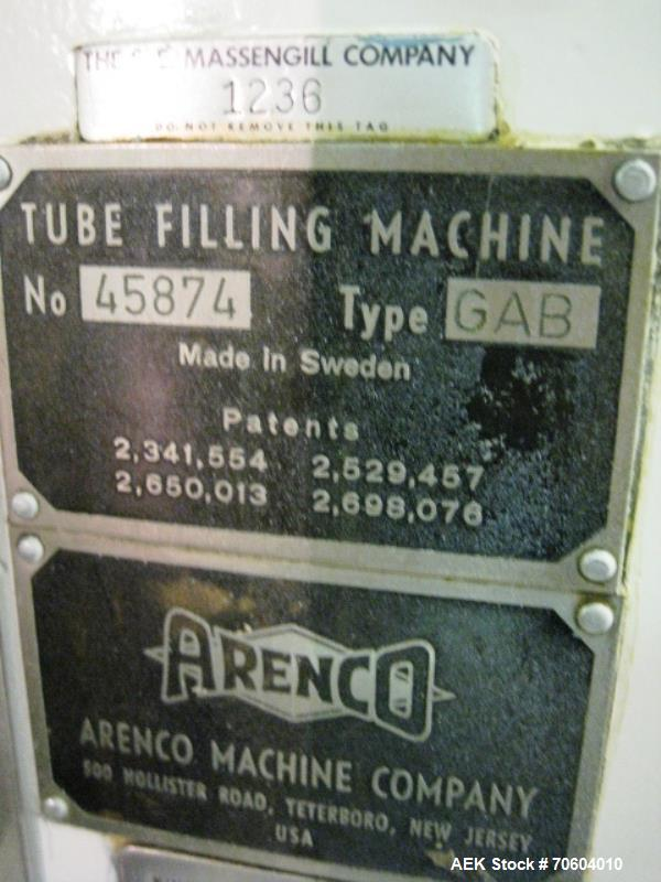 Used- Arenco metal tube filler, type GAB, single filler nozzle, manual loading and unloading