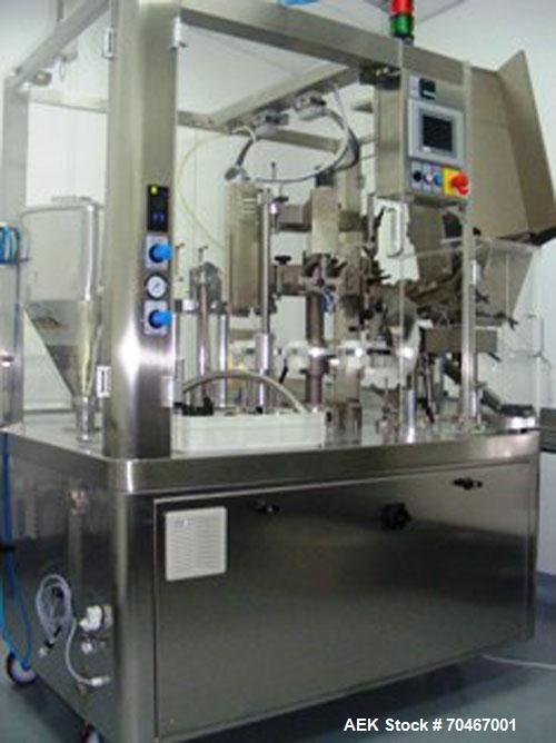 Used-IMA C 960 Plastic Tube Filler, PE tubes, capacity 60 tubes per minute, fills 0.676 - 8.456 fluid ounces (2-250 ml), sta...