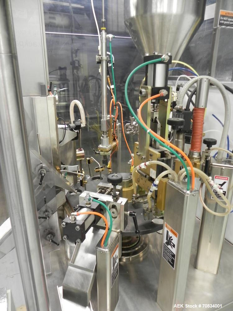 Used- Prosys Model RT60H Hibar Pump Hot Air Plastic Tube Filler. Single pump servo driven rotary filler for micro-dose appli...