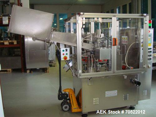 """Used-TGM S400 Tube Filler and Closing Machine for plastic and laminate tubes. Output 3,600 tubes/hour, tube diameter 0.4"""" - ..."""